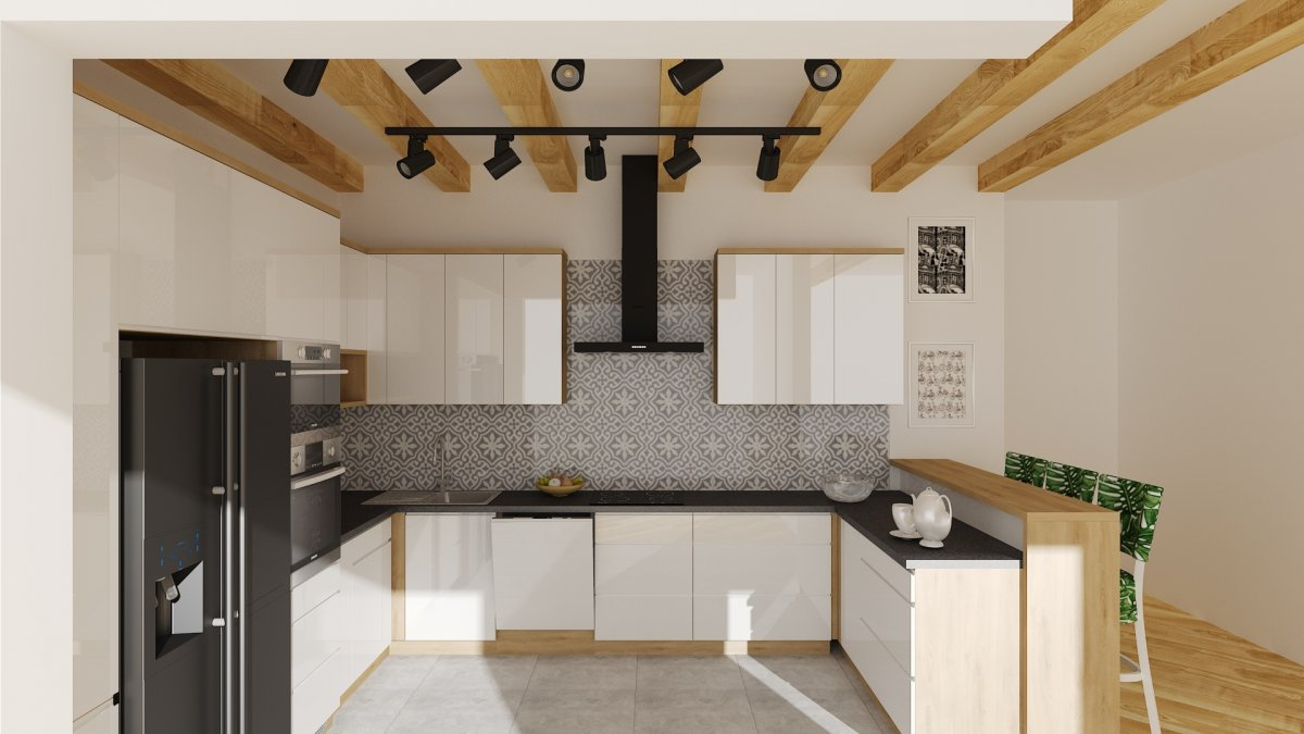 Nowoczesna Kuchnia W Drewnianym Domu Wnetrzekuchni